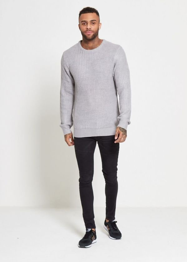Grey Chain Fine Knitted Jumper