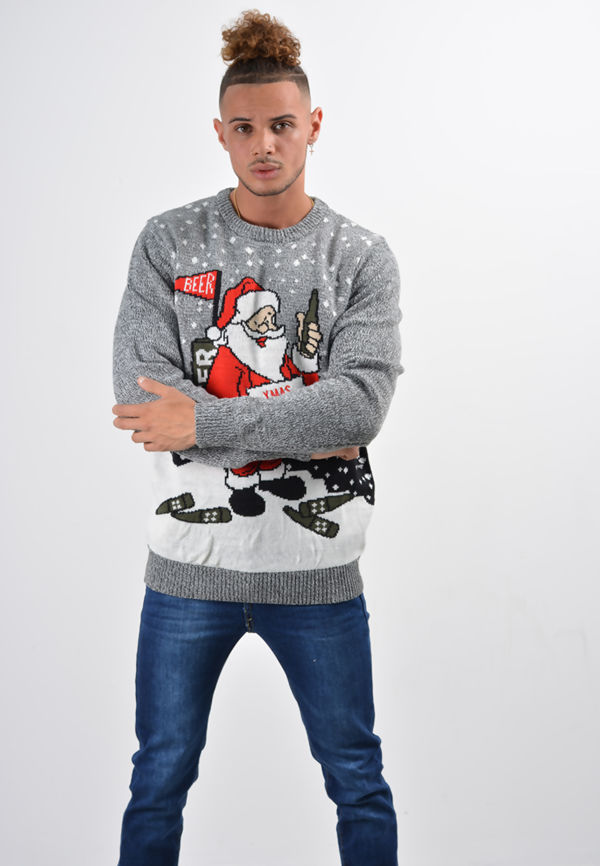 Grey Cheers With Lights Christmas Jumper