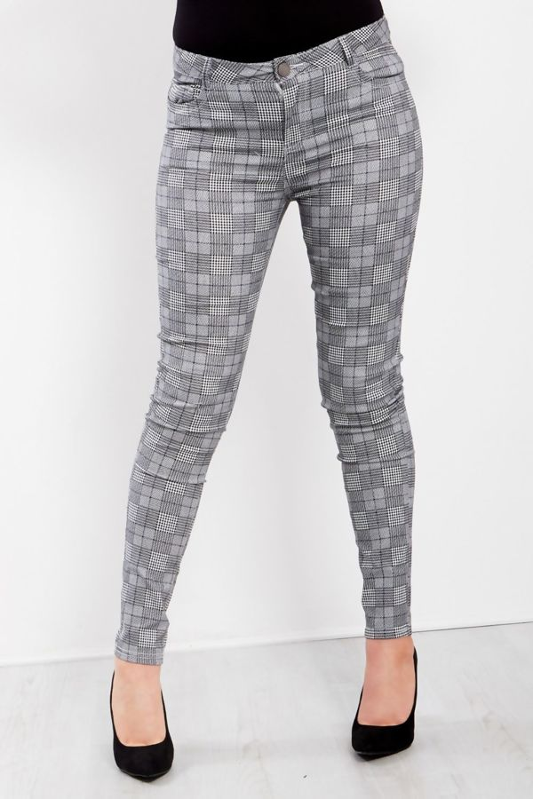 Grey Chequered Skinny Jeans
