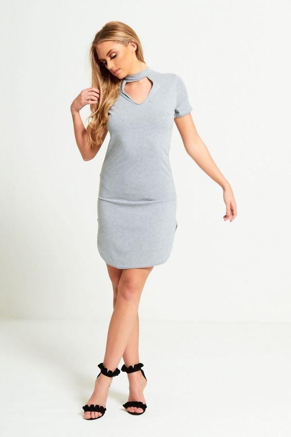 Grey Choker Neck Curved Mini Dress