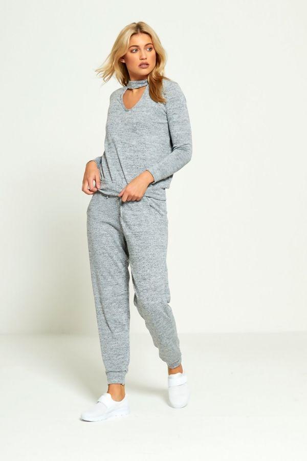 Grey Choker Plain Knit Tracksuit