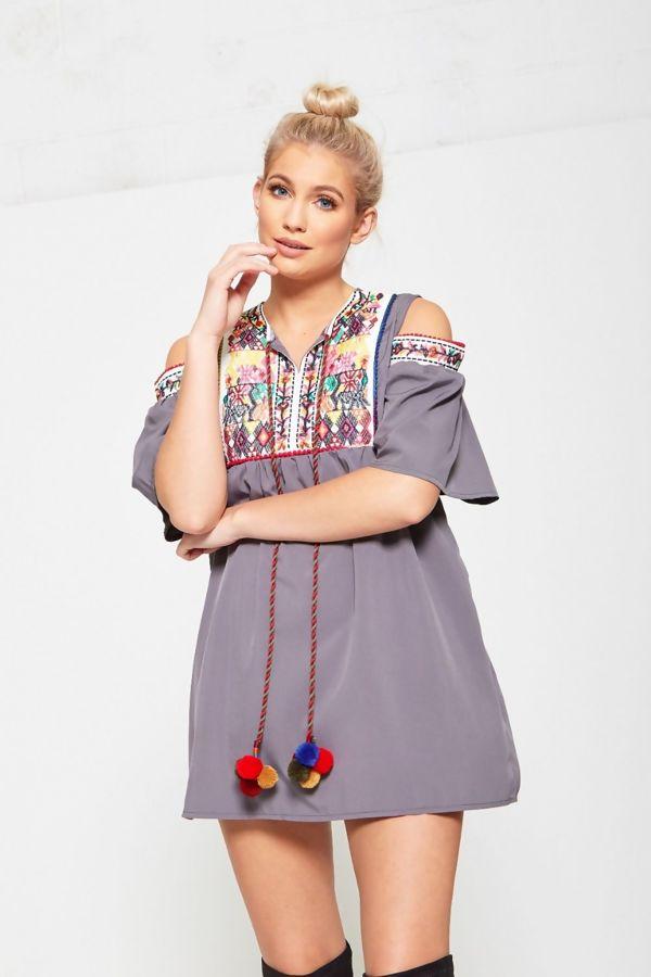 Grey Cold Shoulder Embroidered Tassel Mini Dress