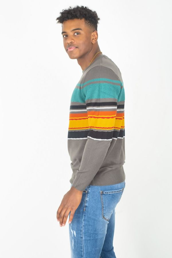 Grey Colourblock Rib Trim Jumper