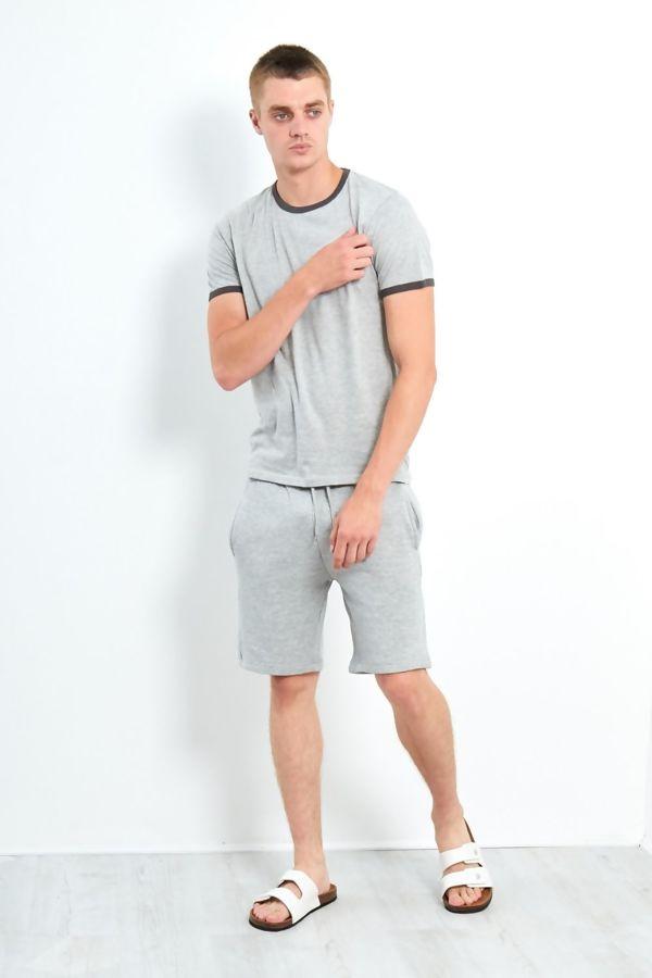 Grey Contrast Crew T-Shirt