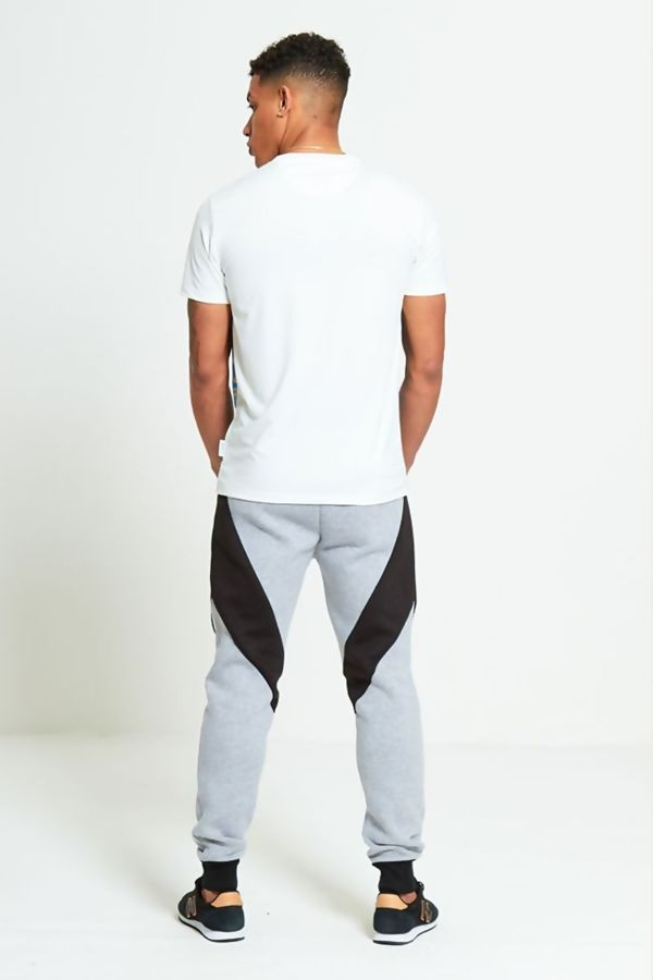 Grey Contrast Panel Jogging Bottom