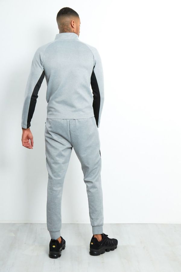 Grey Contrast Zip Tracksuit With Panel Detail