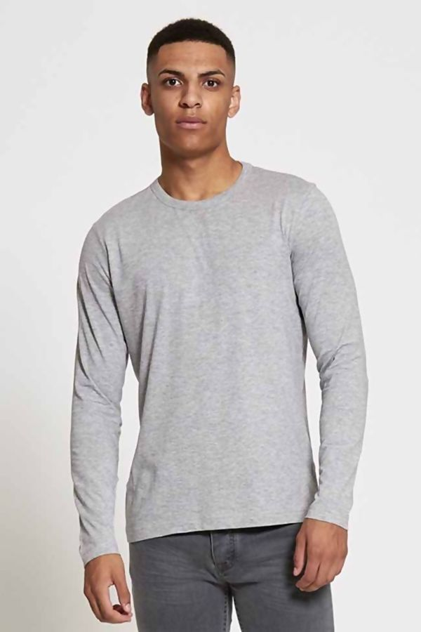 Grey Crew Neck Long Sleeve T-shirt