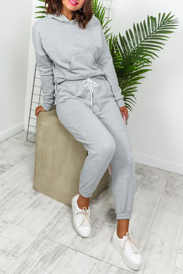 Grey Crop Hood Lounge-wear Set