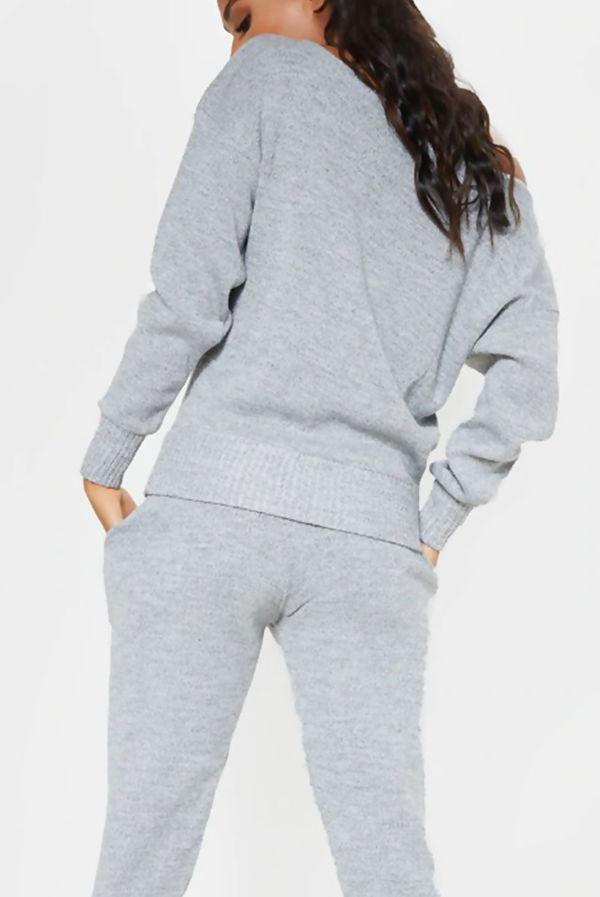 Grey Cuffed Hem Knitted Jumper