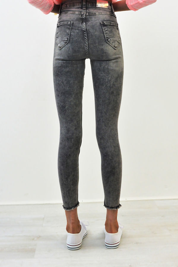 Grey Extreme Ripped High Waist Skinny Jeans
