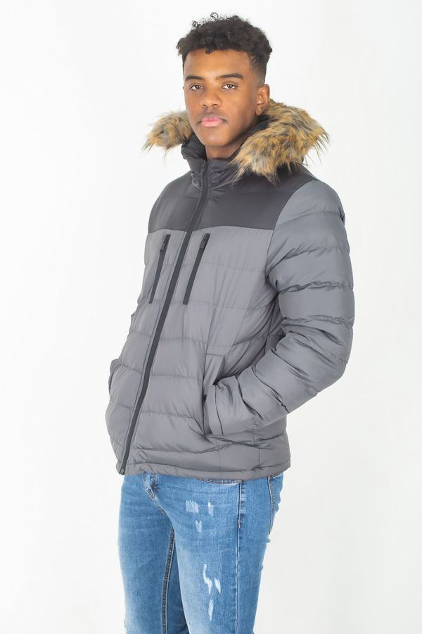 Faux Fur Hood Padded Jacket