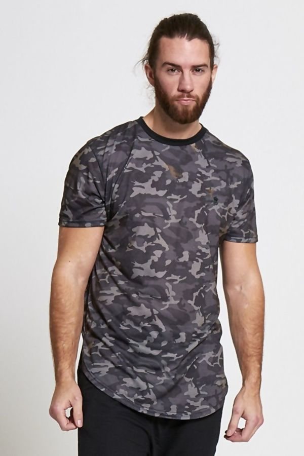 Grey Fish Tail Camo Print T-shirt