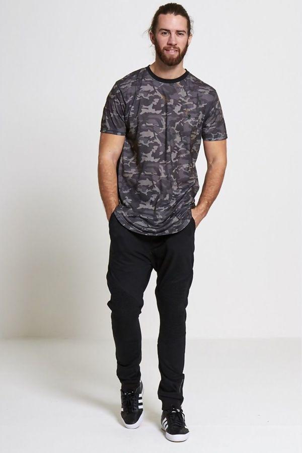 Grey Fish Tail Camo Print T-shirt