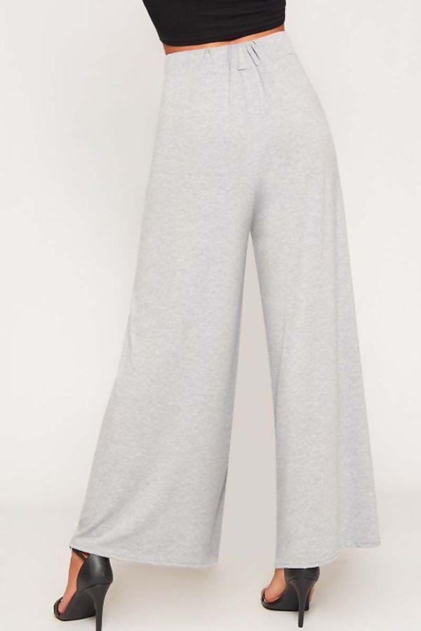 Grey Flared Wide Leg Palazzo Trouser