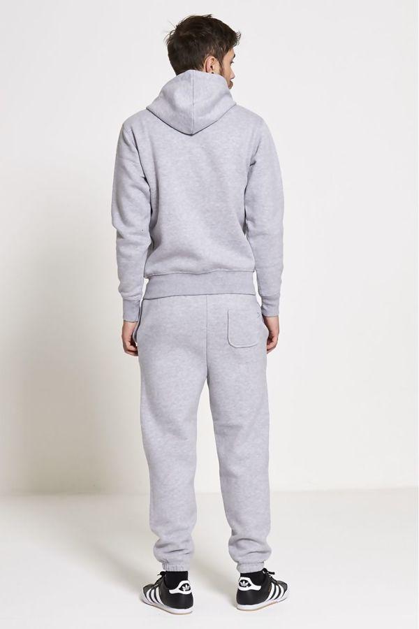 Grey Fleece Jogging Pockets Bottoms Plain Tracksuit