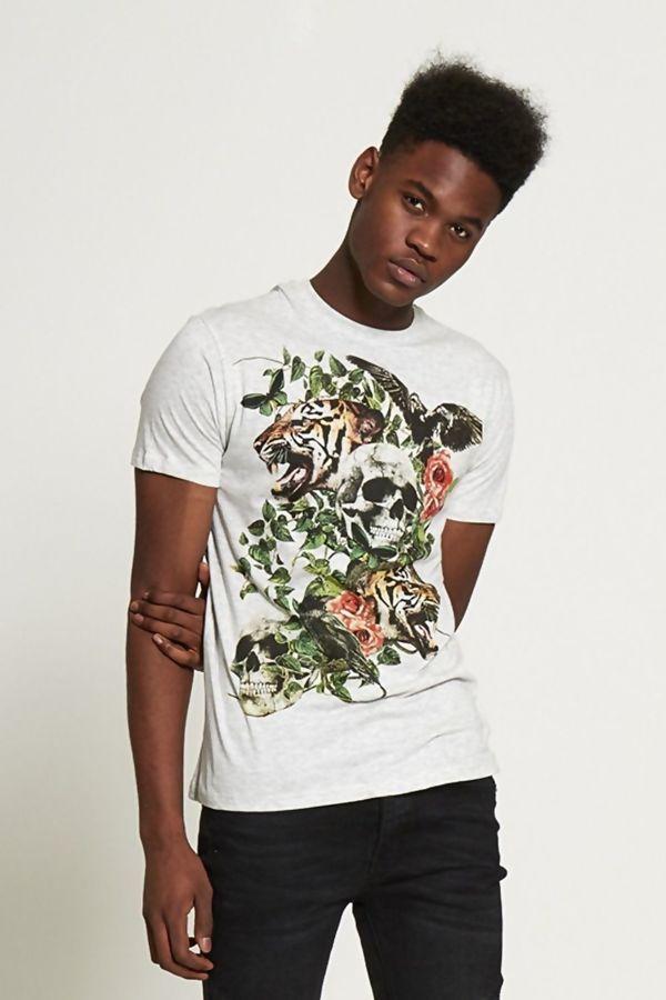 Grey Graphic Print Skull T-shirt