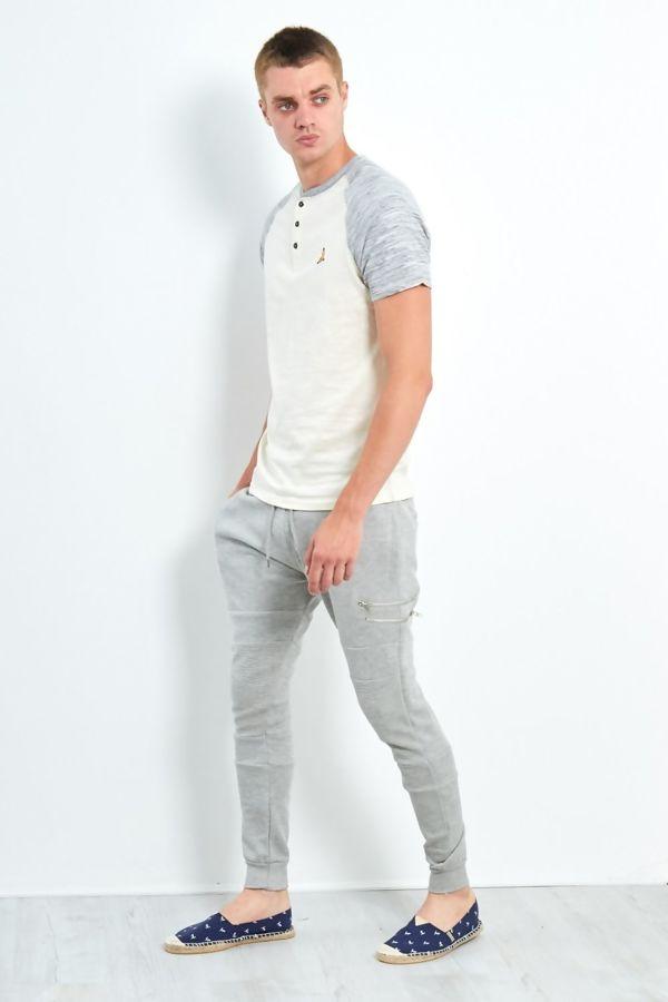 Grey Half Raglan Space Dye T-Shirt