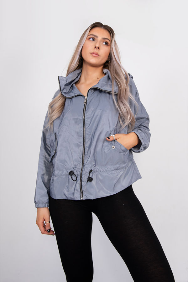 Grey Hooded Festival Jacket
