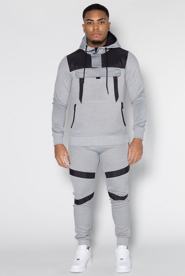 Grey Hybrid Pullover Skinny Tracksuit