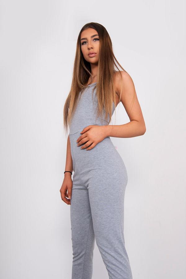 Grey Jersey Cami Scoop Neck Jumpsuit