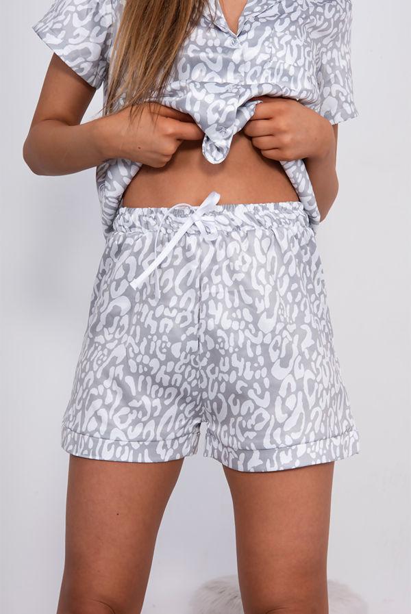 Grey Leopard Satin Short PJ Set