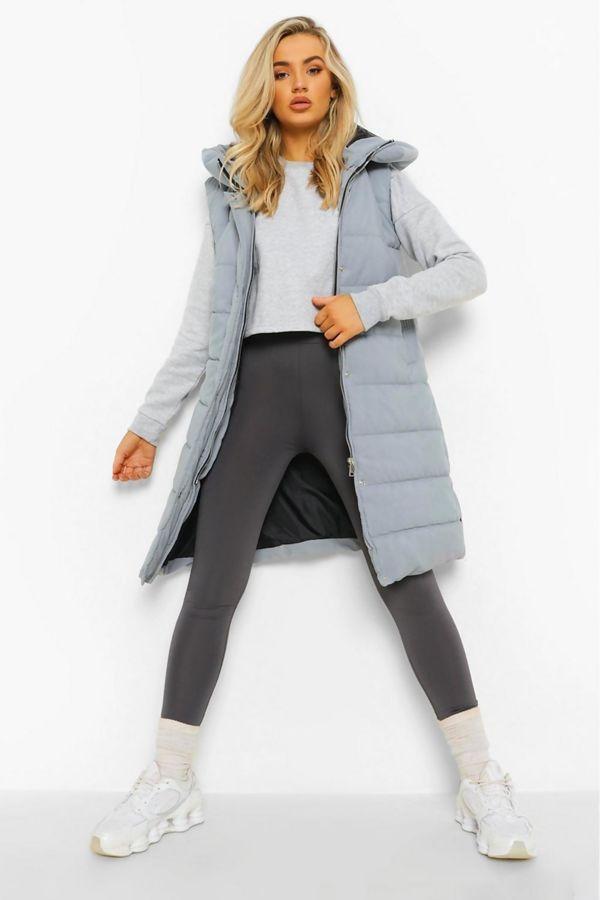 Grey Longline Hooded Puffer Gilet Size 10