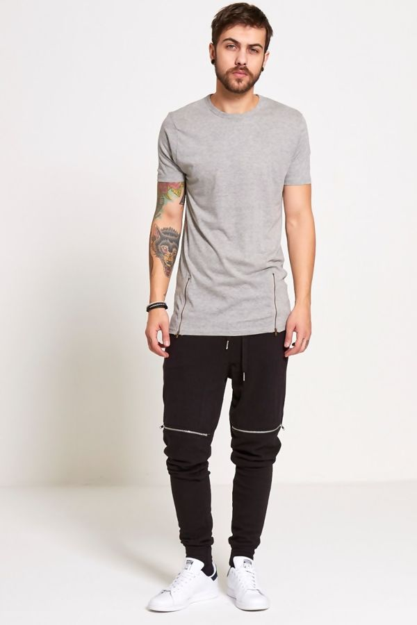 Grey Longline Zipper T-Shirt