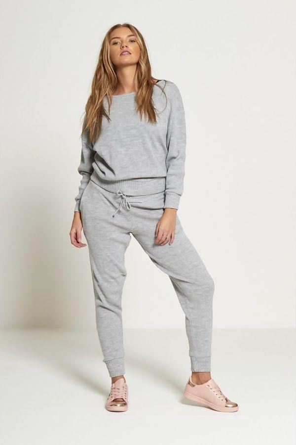 Grey Lounge Wear Knitted Set