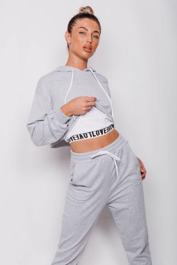 Grey Love Tape Trim Crop Vest