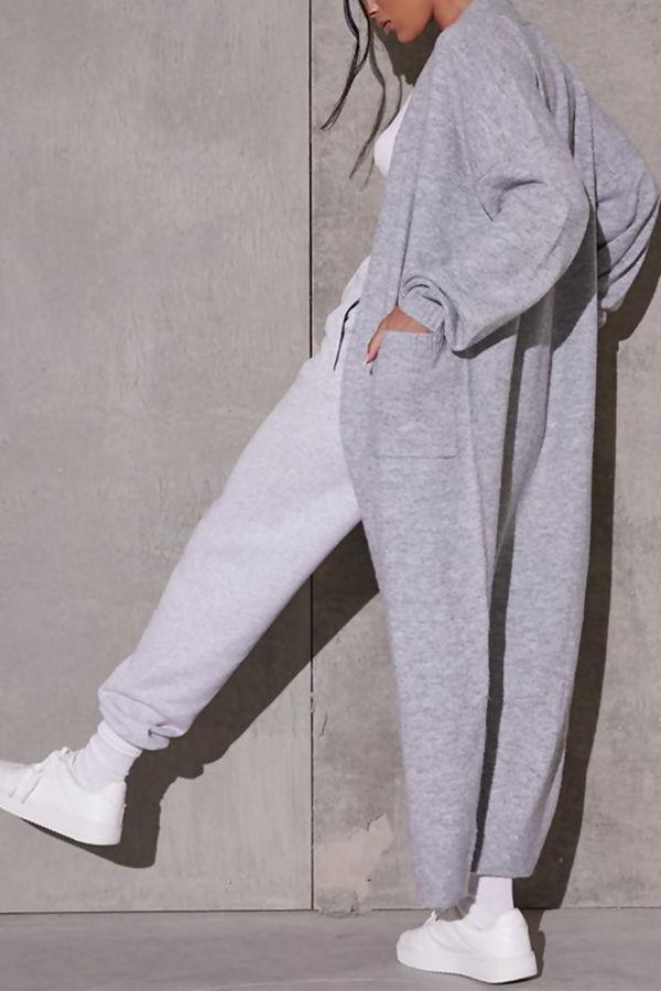 Grey Marl Balloon Sleeve Maxi Pocket Front Coat