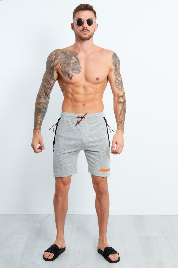 Grey Marl Black Panel Side Zip Jogging Shorts