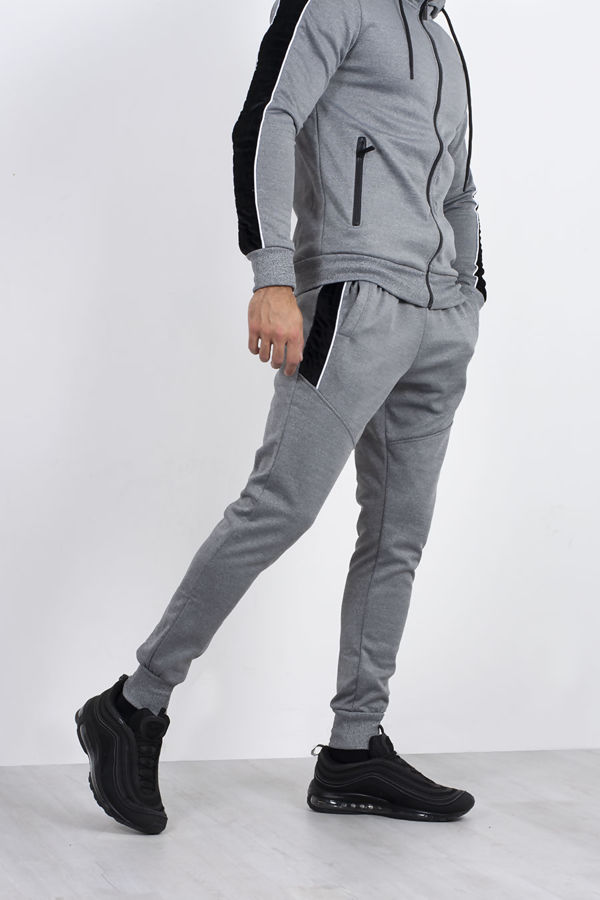 Grey Marl Quilted Velvet Stripe Detail Muscle Fit Tracksuit