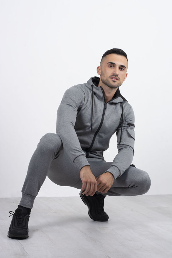 Grey Marl Utility Hooded Tracksuit With Zip Detail