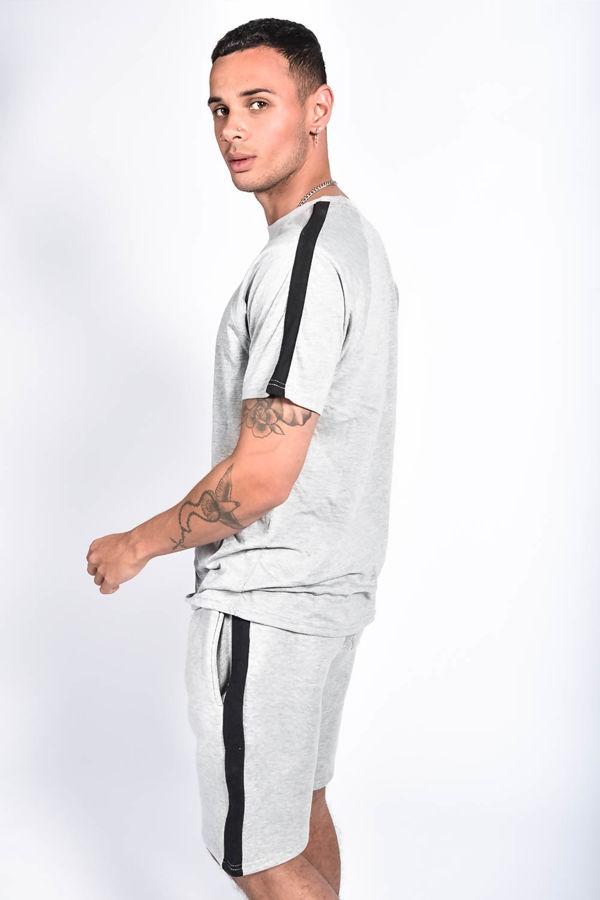 Grey Monochrome Stripe Short Set