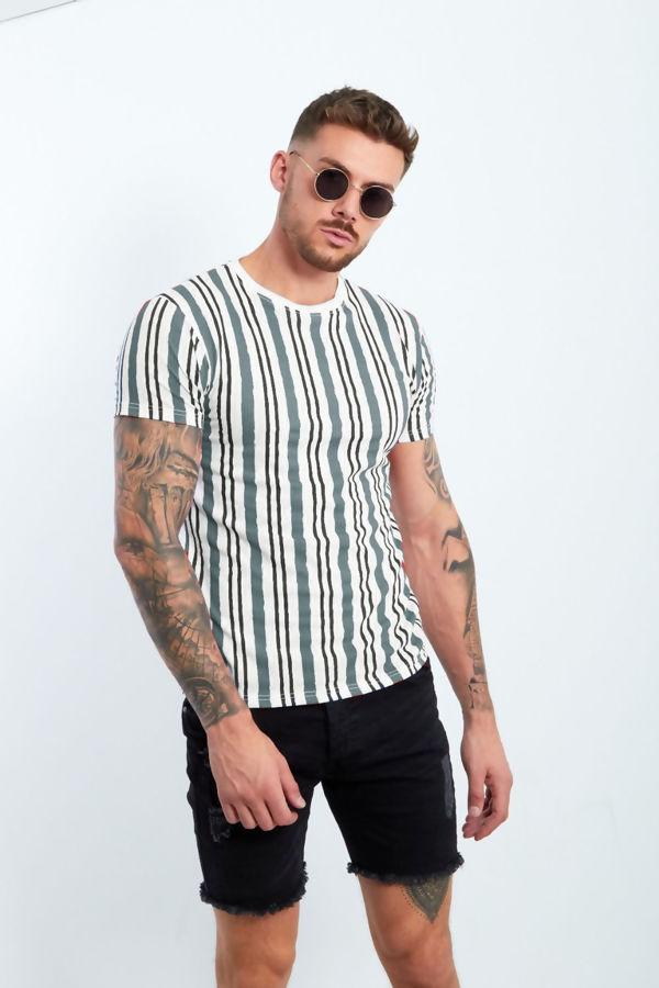 Grey Multi Stripe Muscle Fit T-Shirt