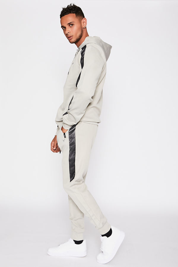 Grey Ombre Mesh Silver Panel Poly Skinny Tracksuit