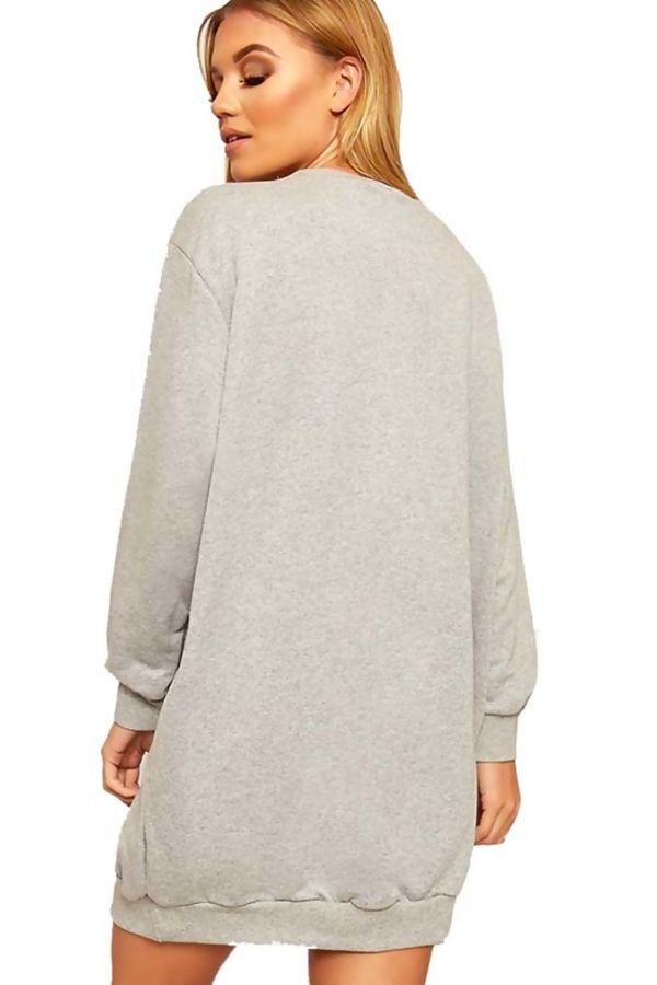 Grey Oversized Pocket Sweat Dress