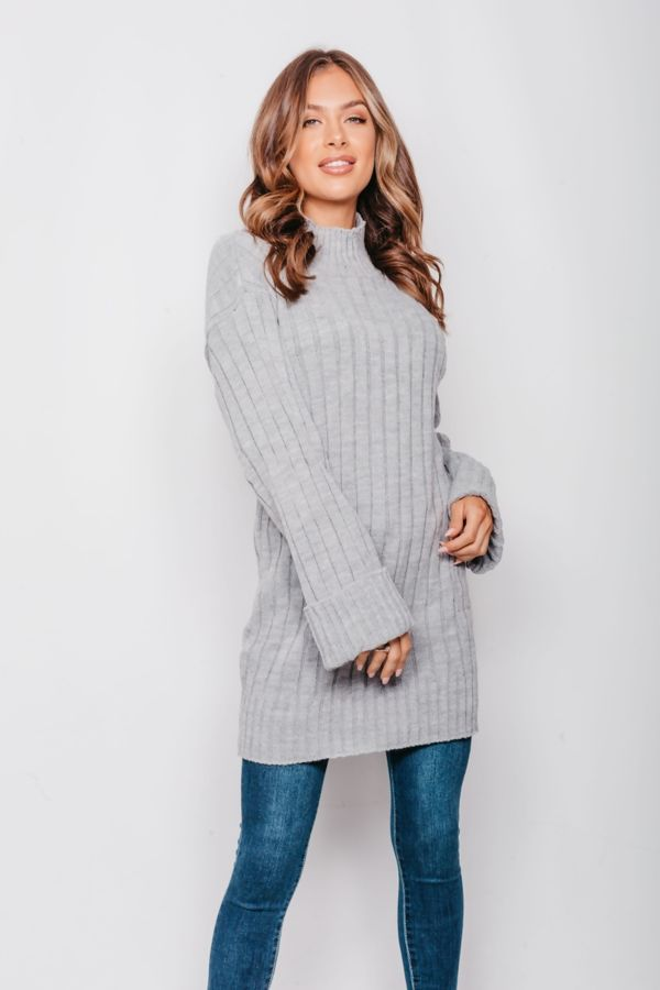 Grey Oversized Rib Knit Jumper Dress