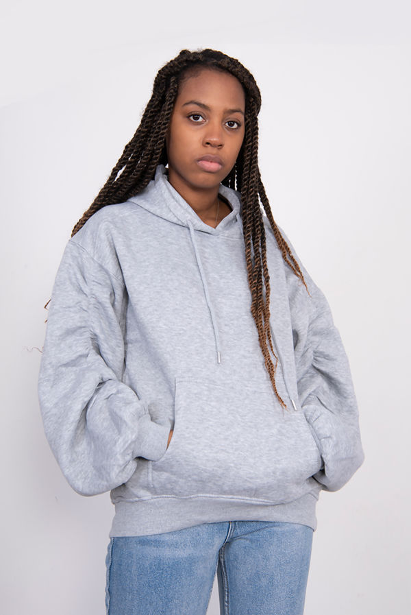 Grey Oversized Ruched Sleeve Hoodie