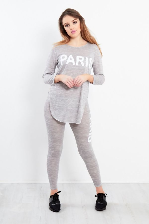 Grey Paris Slogan Tracksuit