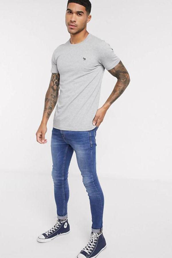 Grey Paul Smith Zebra Logo T-Shirt