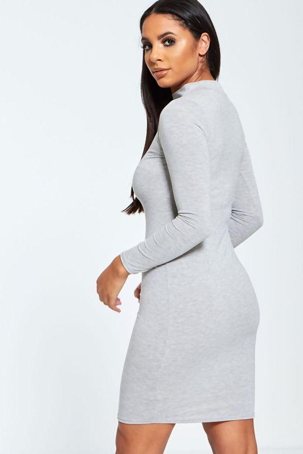 Grey Plain Choker Neck Mini Dress
