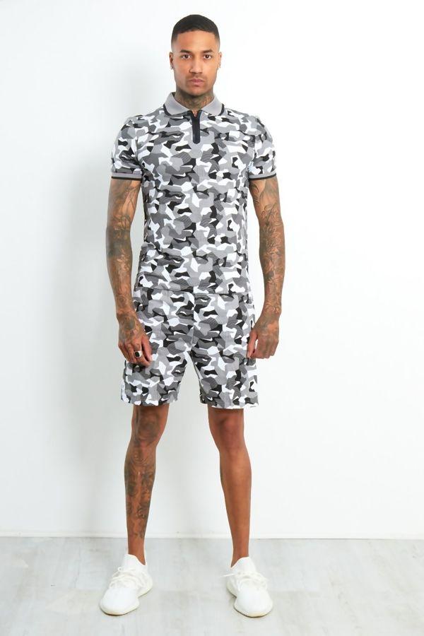 Grey Polo Camo Contrast T-Shirt and Short Set