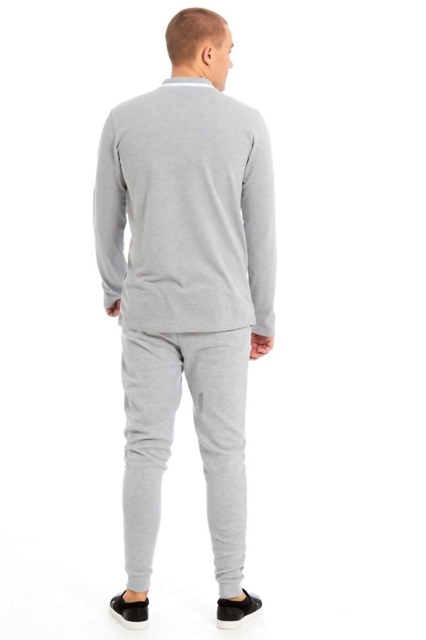 Grey Polo Long Sleeve Skinny Fit Tracksuit
