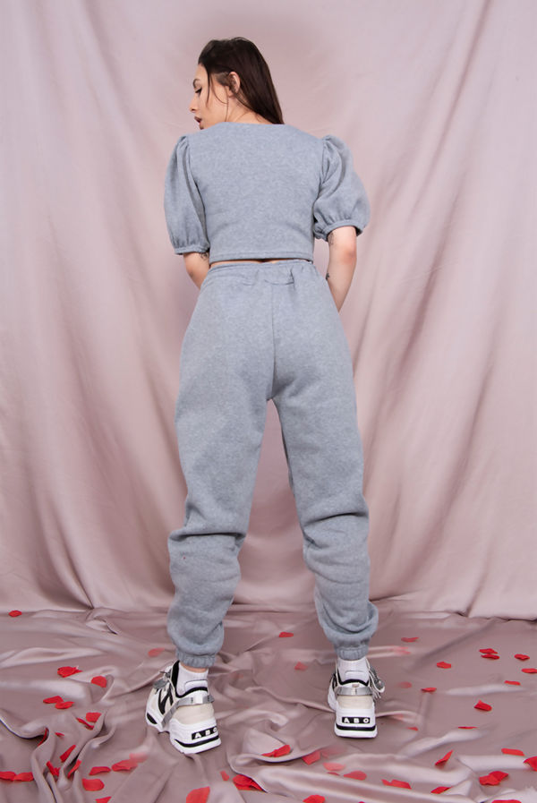 Grey Puff Sleeve Cropped Top And Jogger Lounge Set