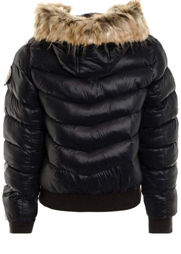 Grey Quilted Badge Puffer Hood Bomber Jacket