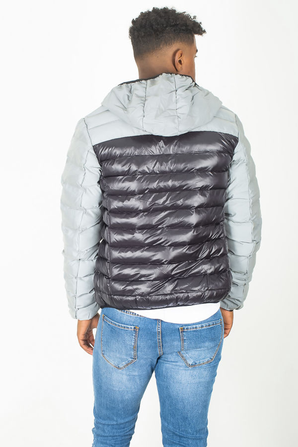 Grey Reflective Panel Hooded Puffer Jacket