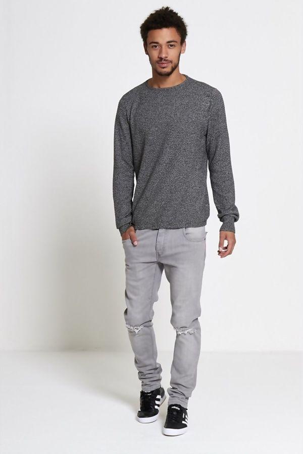 Grey Ribbed Knit Jumper