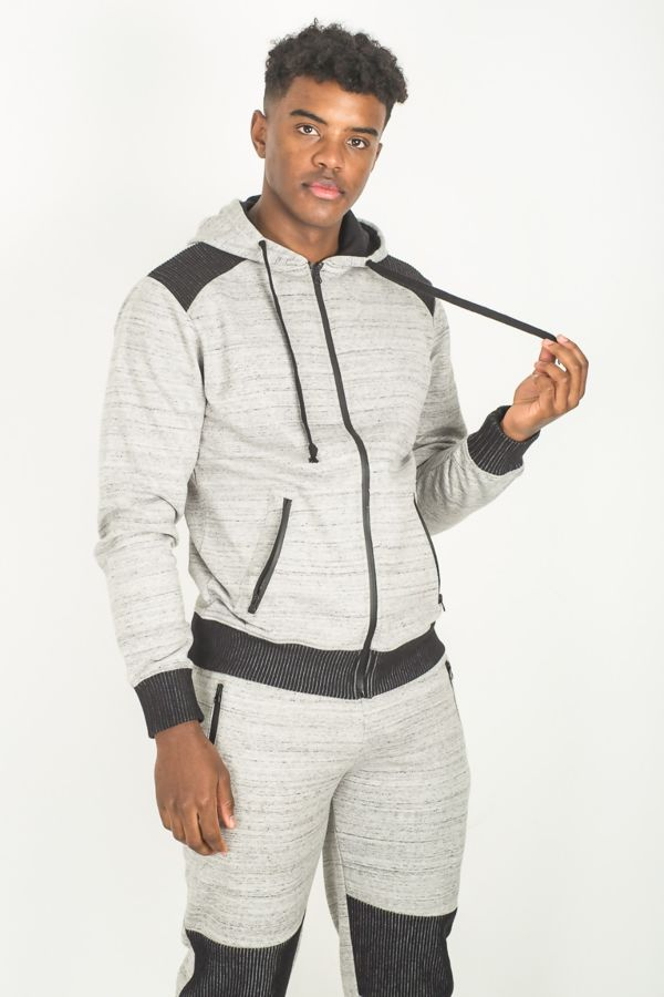 Grey Ribbed Panels Space Dye Skinny Fit Tracksuit