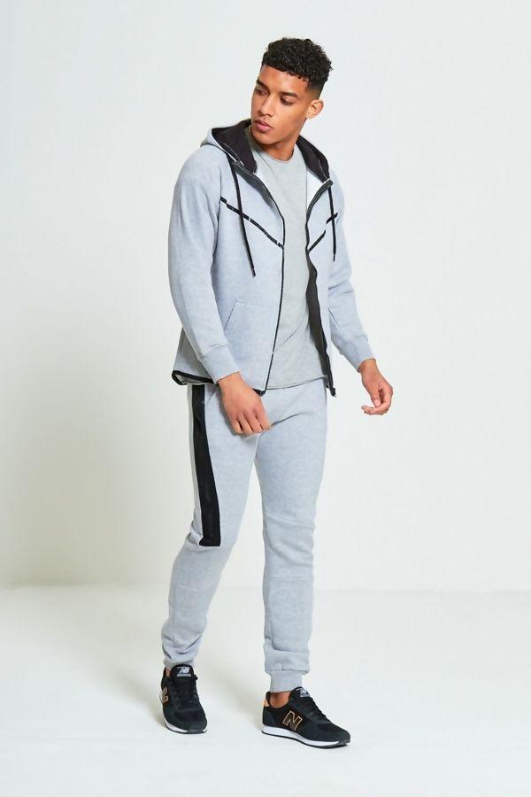 Grey Ribbon Panel Zip Through Skinny Tracksuit